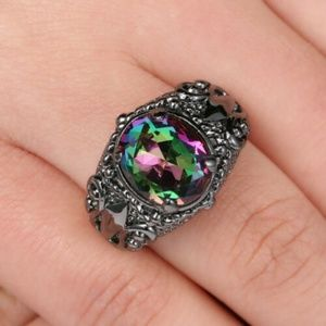 Rainbow Topaz Black Gold Filled Sz 8 Ring